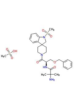 159752-10-0 2-Amino-N-[2-benzyloxy-(1R)-[1-(methanesulfonyl)spiro[indoline-3,4'-piperidin]-1'-ylcarbonyl]ethyl]isobutyramide methanesulfonate