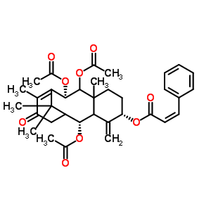 (7R,12S,15R)-O~15~-acetyl-7,8-bis(acetyloxy)-4-oxo-12-{[(2Z)-3-phenylprop-2-enoyl]oxy}-13,20-didehydro-7,8,9,10,11,12,13,14-octahydro-2,15:9,14-dicycloretinol